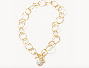 Gold Pearl Oval Chain Toggle Necklace