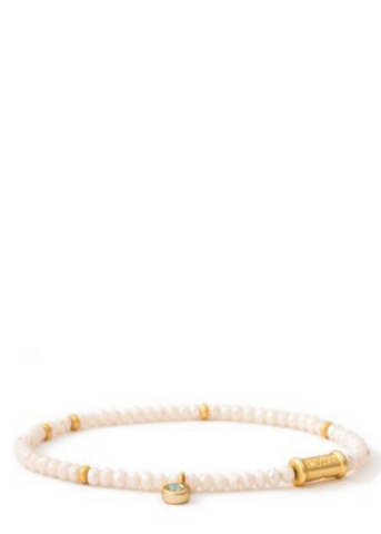 3MM Stretch Bracelet - Gold/Cream