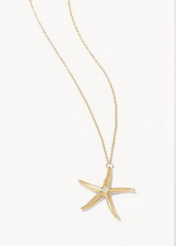 SEA STAR NECKLACE - Gold/White Opal