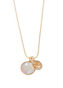 Mermaid Disk Necklace - Gold/Pearlescent