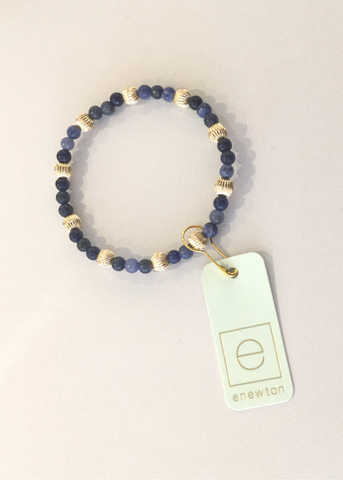 Bead Bracelet - Sincerity Pattern 4mm Dignity Gold 6mm Sodalite