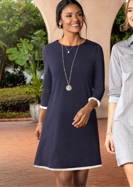 Island Fringe 3/4 Sleeve Dress - Navy