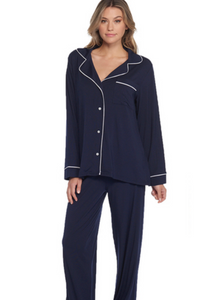 LUXE MILK JERSEY PIPED PAJAMA SET - INDIGO/BLUE