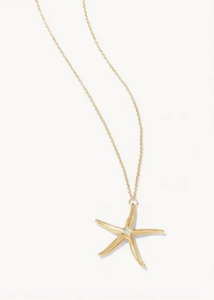 "Sea Star Necklace - 17"" White Opal"