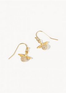 Delicate Sparkly Bee Drop Earrings - Gold/Crystal