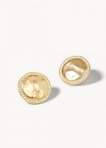 Aura Stud Earrings - Gold/White Opal