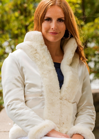 White Faux Fur Reversible Bomber Jacket
