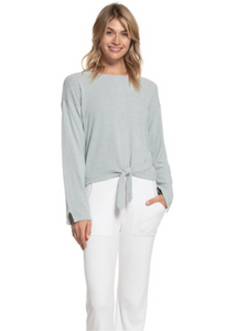 CozyChic Ultra Lite Tie Front Top - Blue Water