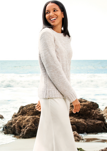 CozyChic Heathered Cable Pullover - Heathered Stone / White