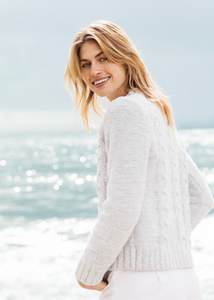 CozyChic Heathered Cable Pullover - Heathered Ocean / White