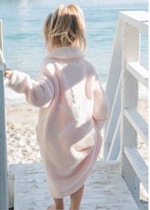 CozyChic Kids Zip-Up Starfish Robe - Sunrise Pink