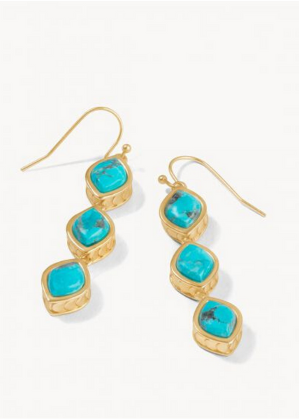 Naia Linear Drop Earrings - Turquoise