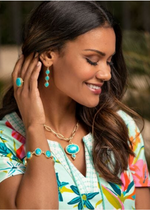 Load image into Gallery viewer, Naia Linear Drop Earrings - Turquoise
