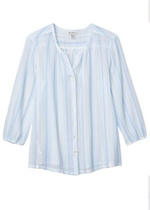 Lana Bay Stripe Top -  3/4-Sleeve  - Light Sky