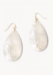 Crushed Pearl Teardrop Earrings - Gold/White