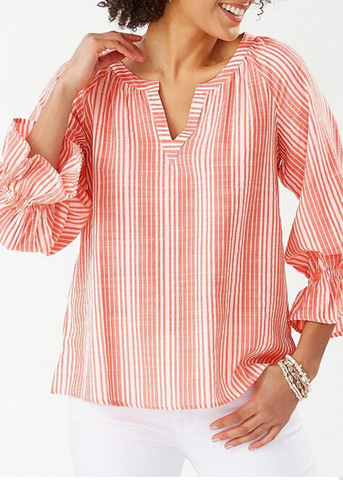 Montauk Stripe 3/4 Sleeve Ruffled Sleeve Top - Orange Ray