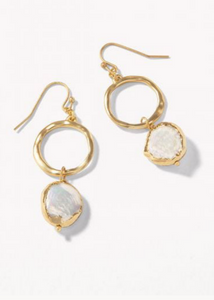 Coin Pearl Ring Earrings - Gold/Pearl