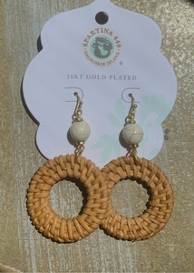 Woven Ring Earrings Taupe