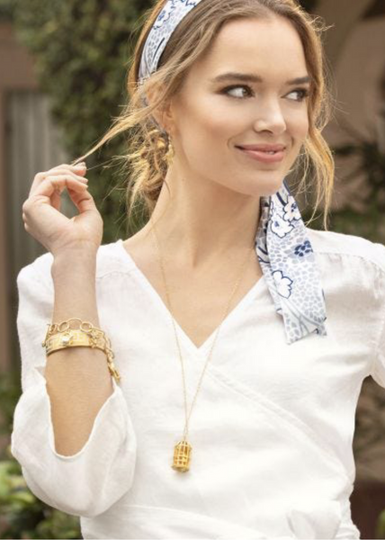 Birdcage Necklace - Gold/White