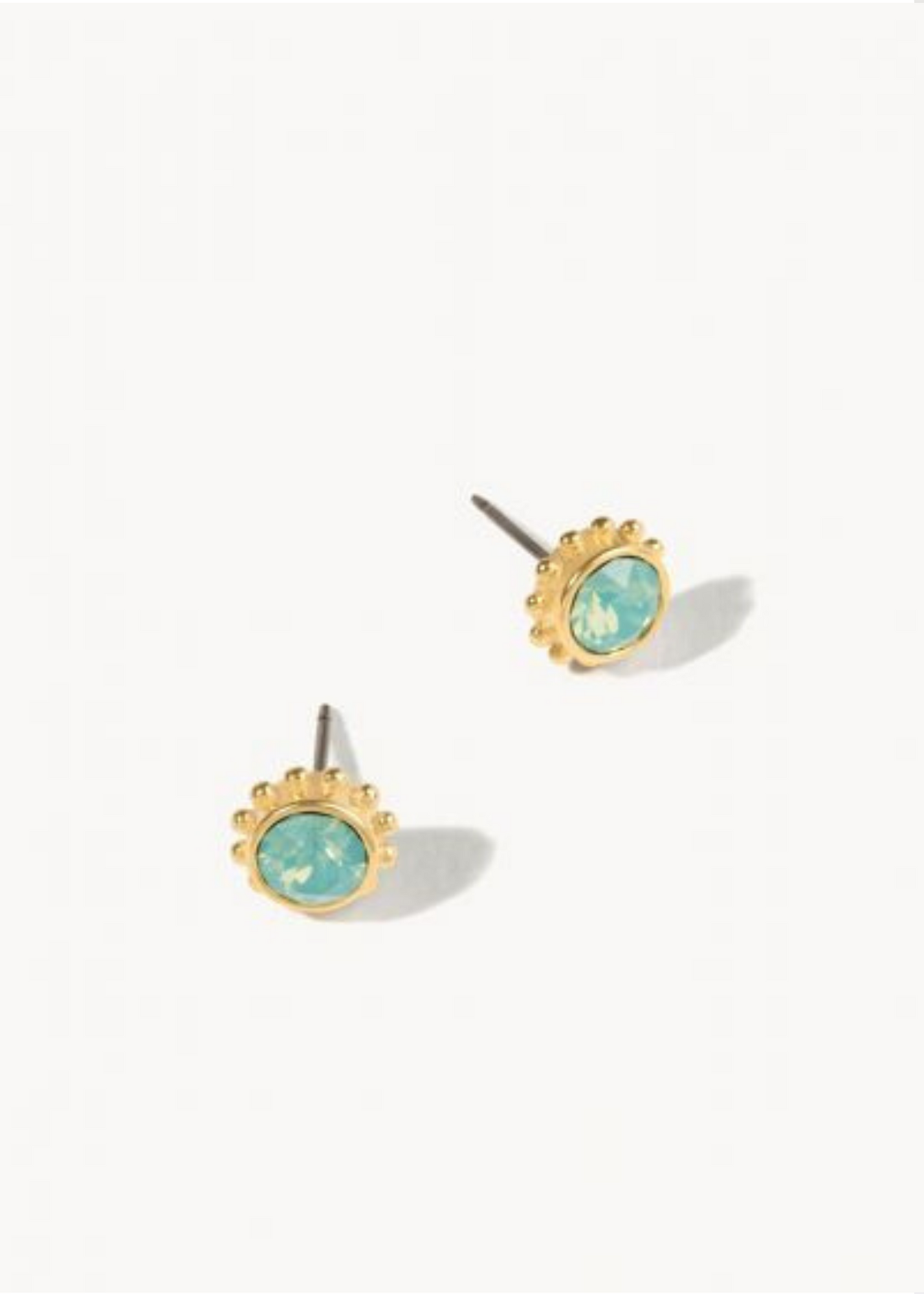 DELICATE ADORNED STUD EARRINGS - Gold/Pacific Opal