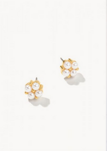 DELICATE CLOVER STUD EARRINGS - Gold/Pearl