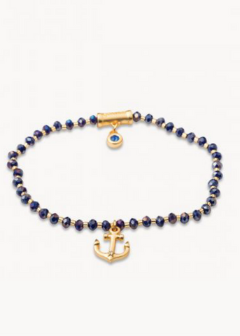 Twinkle Stretch Bracelet - Blue/Anchor