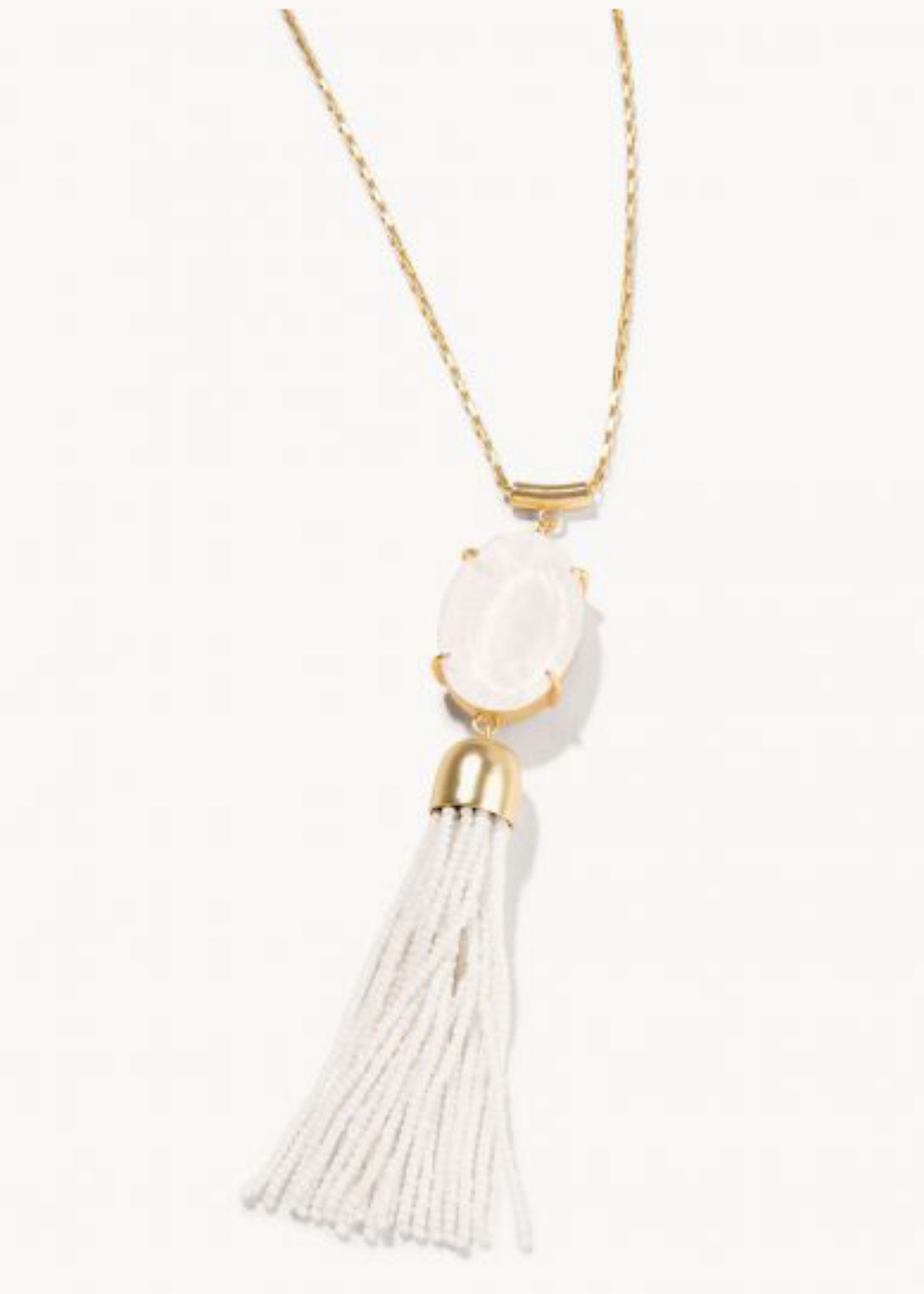 Mermaid Glass Oval Tassel Necklace - Gold/White