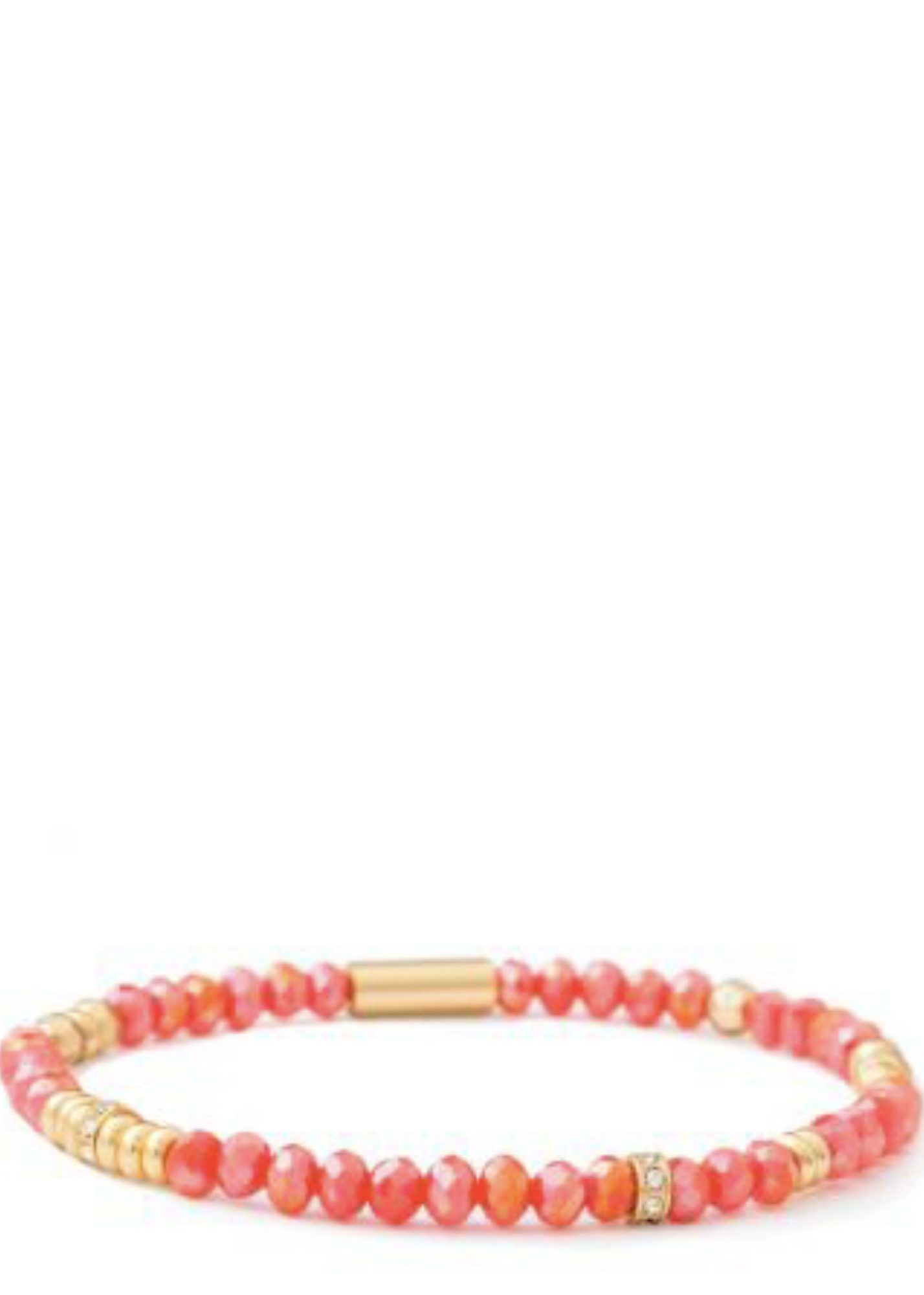 4MM Stretch Bracelet - Gold/Coral