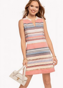 EVIE FRINGE DRESS - NOVELTY STRIPE