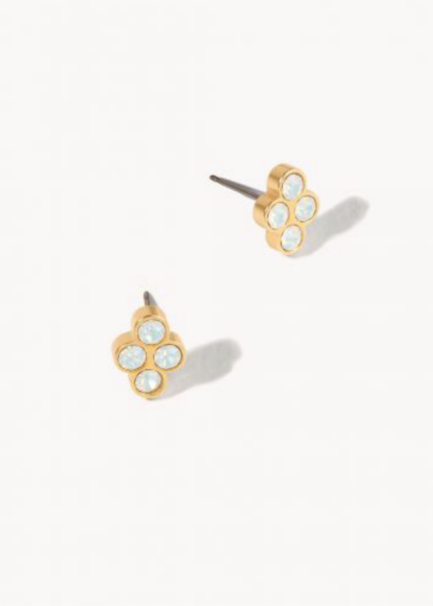 Delicate Sprite Stud Earrings - Gold/White Opal