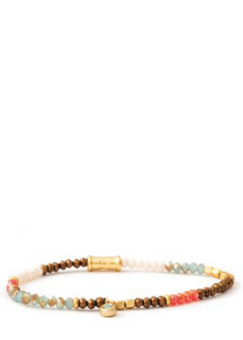 3MM Stretch Bracelet - Gold/Summer Multi