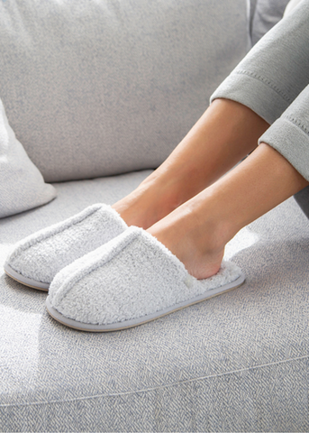 Cozy Heathered Women's Slipper - Ocean/White