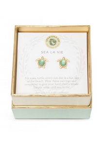 Sea La Vie Sea Turtle Earrings- Gold