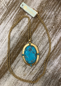 Naia Oval Necklace 34'' Turquoise