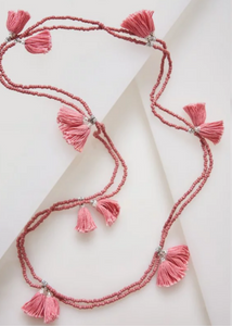 POM POM NECKLACE - Slate Rose