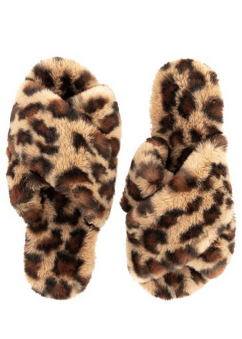 LEOPARD FAUX FUR SLIPPERS