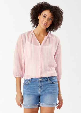 Lana Bay Stripe Top -  3/4-Sleeve  - Malibu Peach