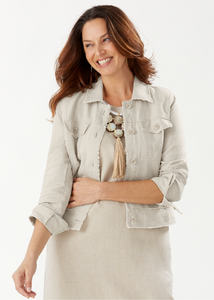 Two Palms Linen Raw-Edge Jacket - NATURAL