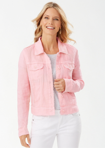 Two Palms Linen Raw-Edge Jacket - DARK PEONY