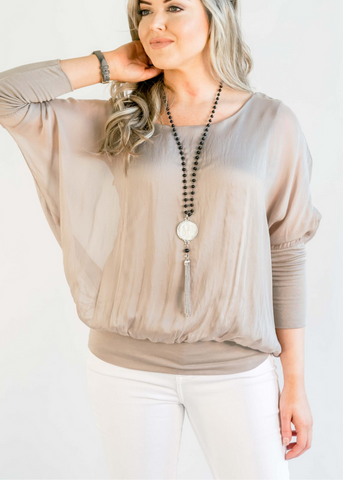 Cassandra Top- Taupe