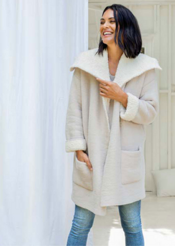 COZYCHIC SHEARLING DRAPE CAR COAT - STONE/CREAM