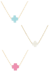 Necklace Gold - Signature Cross Assorted 16""