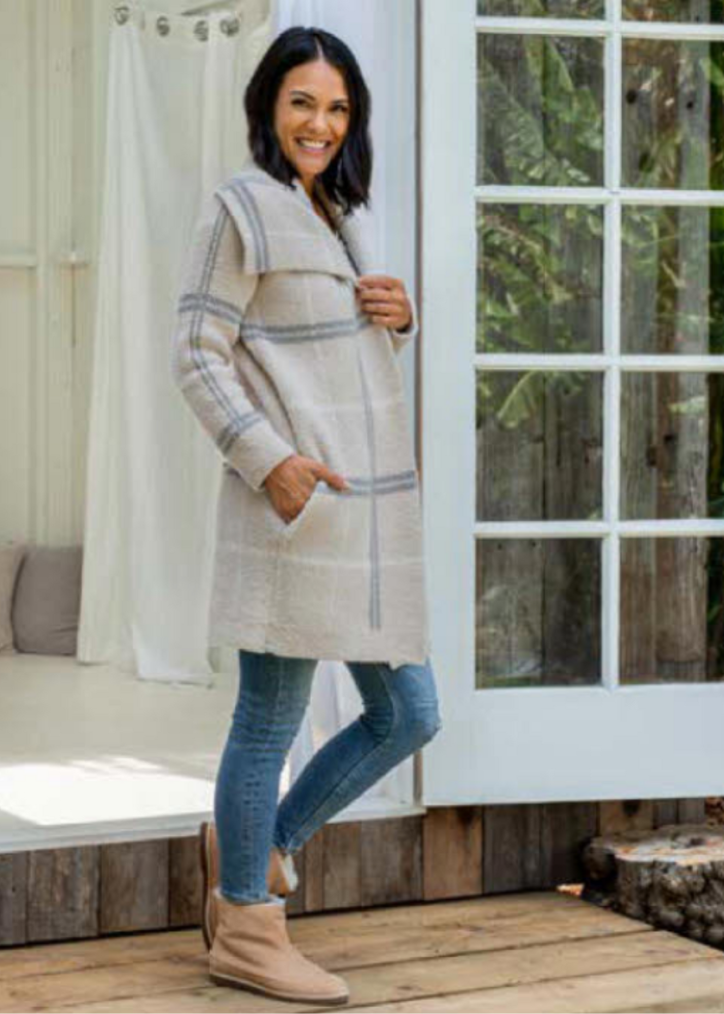 CozyChic Windowpane Drape Cardigan - Stone Multi