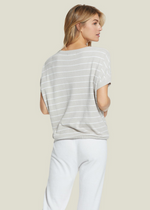 Load image into Gallery viewer, Cozychic Ultra Lite Striped Pullover - Fog Gray/SeaSalt