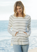 Load image into Gallery viewer, CozyChic Lite® Striped Raglan Pullover - Pearl Multi