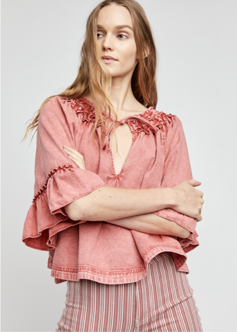 Ainsley Denim Top - Rose Wash