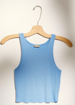 Load image into Gallery viewer, High Neck Ribbed Crop - Sky Blue