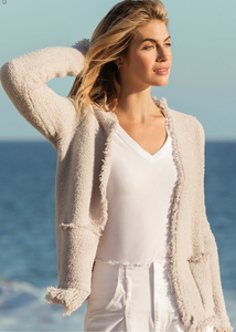 CozyChic Fringed Jacket - Almond