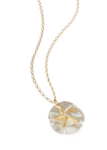 "Star Sand Dollar Necklace - 32"" Pearlscent"
