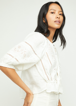 Load image into Gallery viewer, Daisy Chains Eyelet Top - Ivory